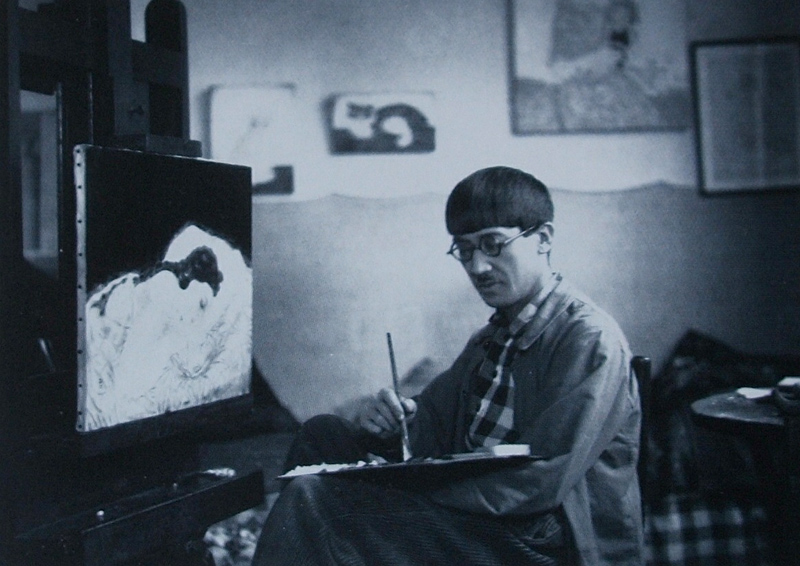 tsugouharu fujita - pohotographie dans son atelier