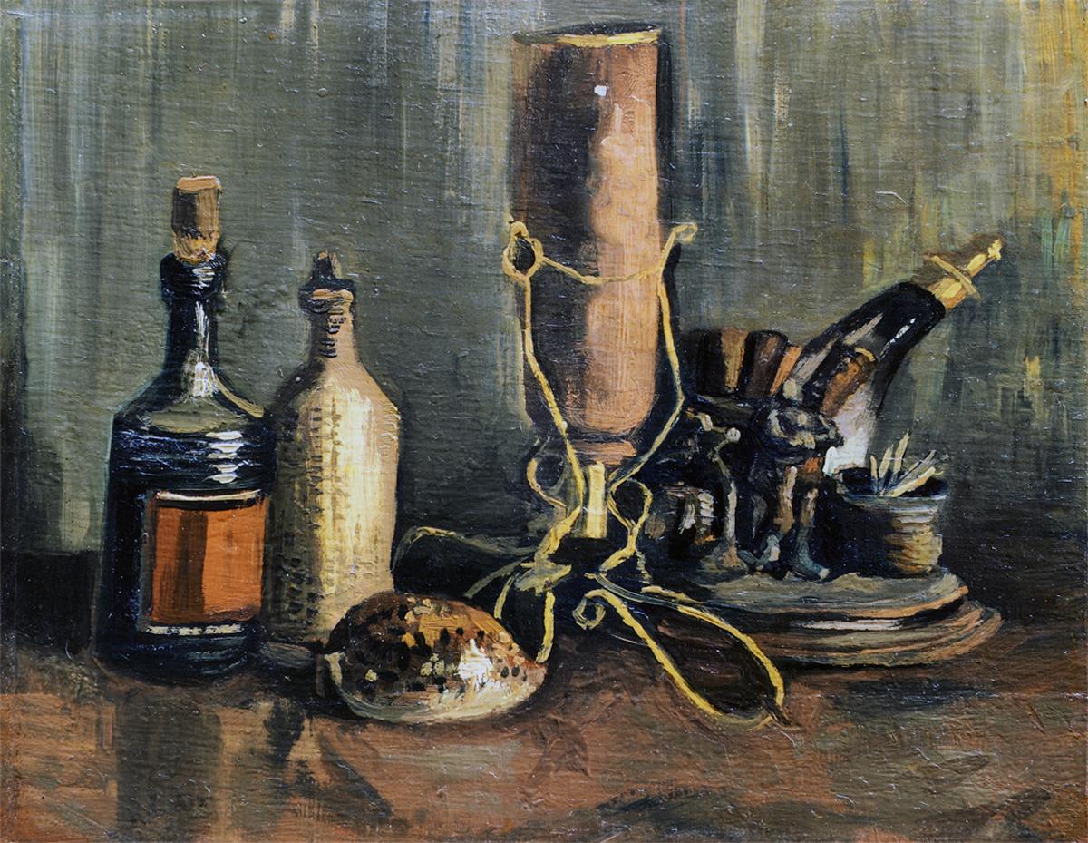 vincent van gogh - nature morte aux bouteilles et au coquillage porcelaine, novembre 1884 – avril 1885