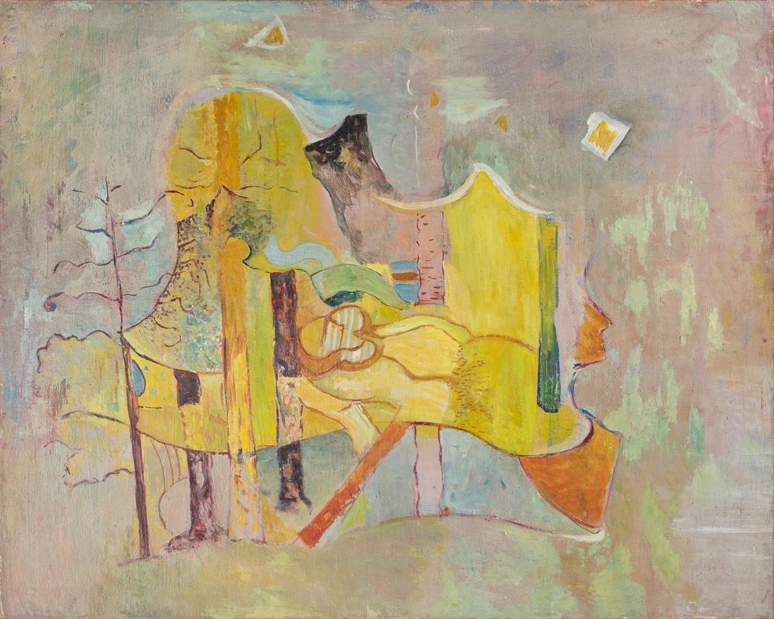 marie raymond - paysage fond jaune 1949