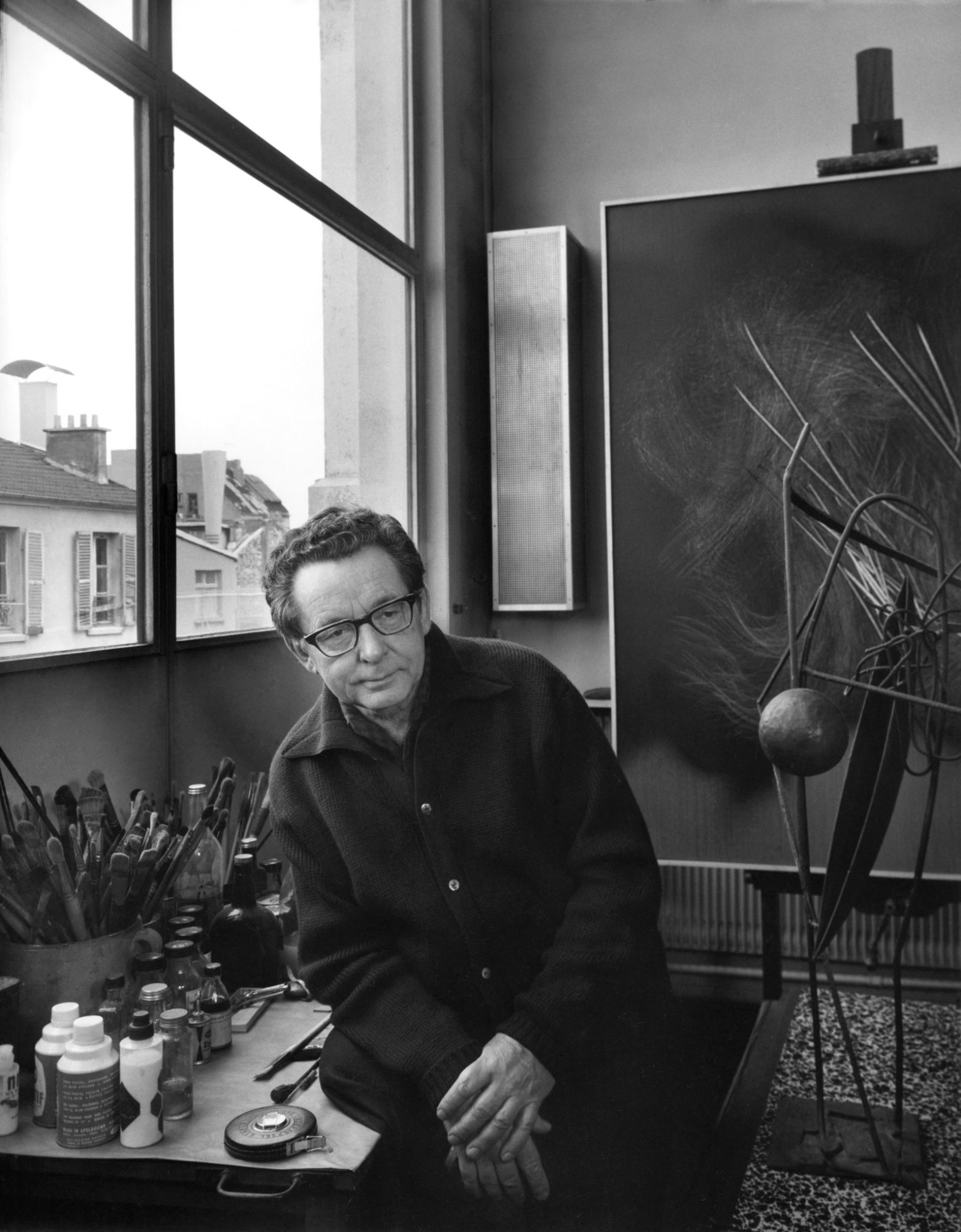 hans hartung - portrait atelier 1965