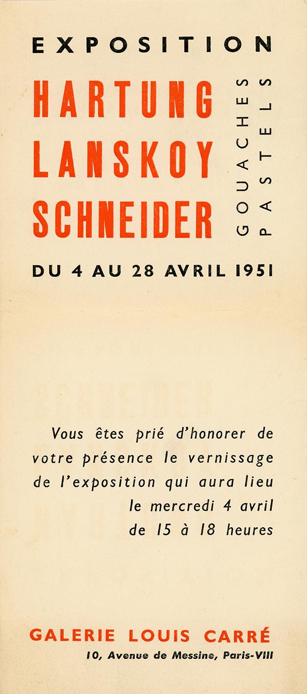 gerard schneider - exposition 1951