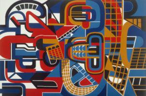 jean dewasne - huit et demi 1968 painting