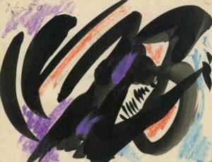 gerard schneider - 1950 san titre pastel encre de chine