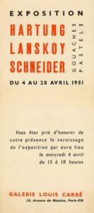 gerard schneider - exhibition hartung lanskoy schneider gouaches pastels louis carre gallery paris 1951