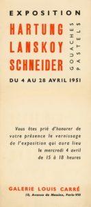 gerard schneider - exposition hartung lanskoy schneider gouaches pastels galerie louis carre paris 1951