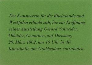gerard schneider - exposition invitation retrospective allemagne 1962