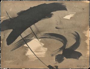 gerard schneider - sans titre encre 1952 papier