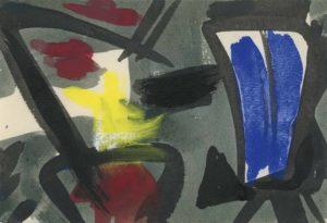 gerard schneider - sans titre encre 1952 papier pastel