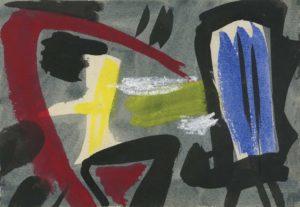 gerard schneider - sans titre encre pastel 1952