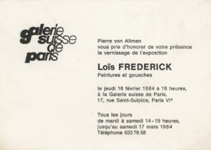 lois frederick - invitation exposition peintures et gouaches galerie suisse paris 1984