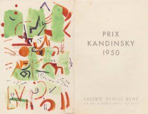 marie raymond - carton invitation gouache prix kandinsky galerie denise rene 1950