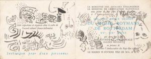 marie raymond - invitation vernissage exposition musee boymans rotterdam 1952