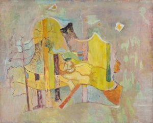 marie raymond - peinture paysage fond jaune 1947