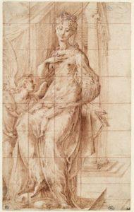 parmesan - la vierge tenant enfant jesus adore par un ange 1535 newsletter art vient a vous 8