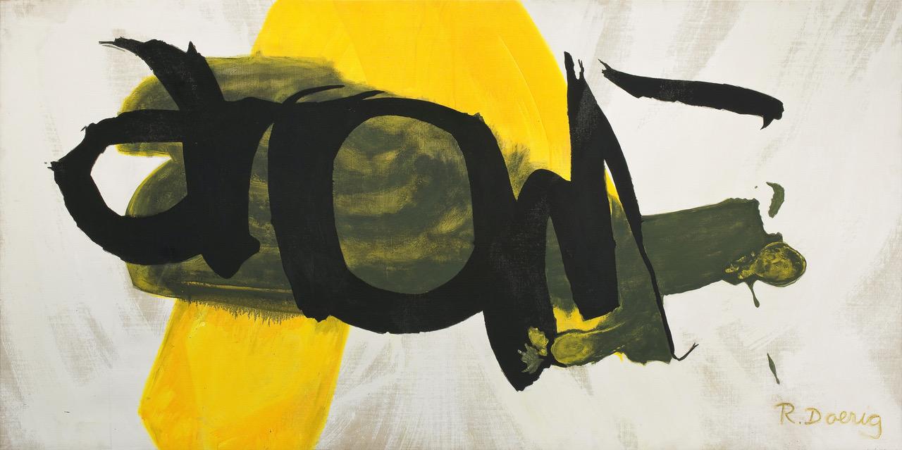 roswitha doerig - ecriture jaune acrylic painting 1992