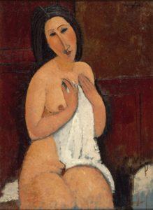 amedeo modigliani - painting nu assis a la chemise 1917