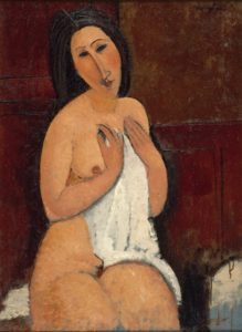 amedeo modigliani - peinture nu assis a la chemise 1917