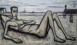 bernard buffet - painting homme nu allonge sur la plage 1956