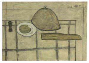 bernard buffet - painting nature morte au pain et au fromage 1949