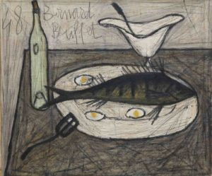 bernard buffet - painting nature morte au poisson 1948