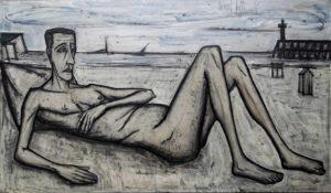 bernard buffet - peinture homme nu allonge sur la plage 1956