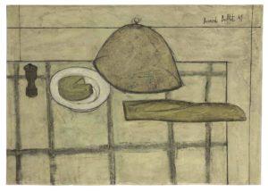 bernard buffet - peinture nature morte au pain et au fromage 1949