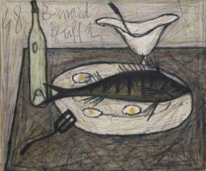 bernard buffet - peinture nature morte au poisson 1948