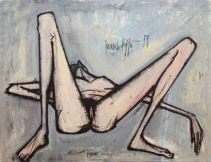 bernard buffet - peinture nu couché 1959