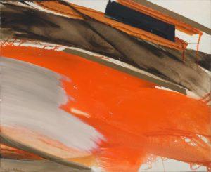 huguette arthur bertrand - painting deferlant rouge et gris sur brun 1970