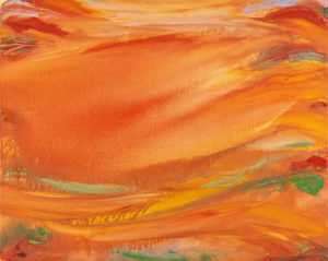 olivier debre - painting rouge orange coule des hautes montagnes laerdal 1990