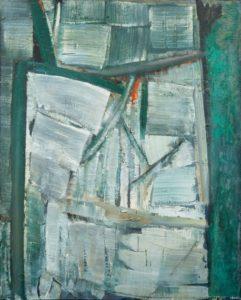 olivier debre - painting signe personnage gris vert 1957
