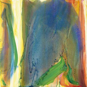 olivier debre - peinture faille jaune vif fond bleu vert 1990