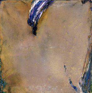 olivier debre - peinture grande ocre a la tache violette 1970