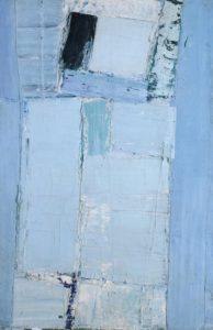 olivier debre - peinture personnage debout bleu 1957 1958