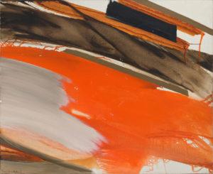 huguette arthur bertrand - peinture deferlant rouge et gris sur brun 1970
