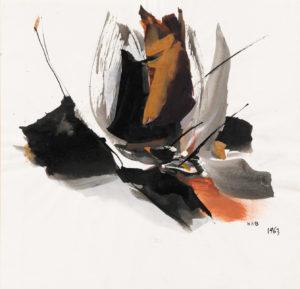 huguette arthur bertrand - sans titre 1963 gouache