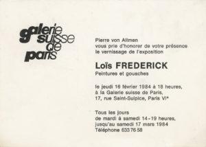 lois frederick - invitation exhibition peintures et gouaches galerie suisse paris 1984