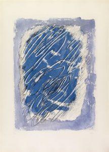 jean fautrier - ecriture sur fond bleu 1963 newsletter lart vient a vous 20